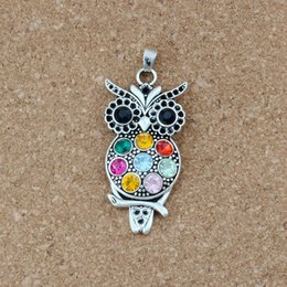 Antique crystAl owl online shopping - Colorful Crystal Owl Alloy Antique silver charm Pendants Jewelry DIY Fit Pendant Necklace x54 mm A