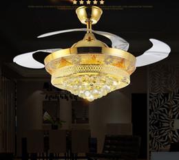 Lighted Fan Blades Australia - new Led Fans LightInvisible Blades Ceiling Fans Modern Fan Lamp Living Room 42 inch K9 Chandeliers Ceiling Light Pendant Lamp free ship LLFA