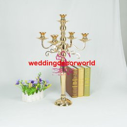 Decor Parties Australia - Gold Flower Vases Candle Holders Stand Wedding Decor Road Lead Table Centerpiece Rack Pillar Party Candlestick Candelabra decor803