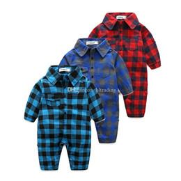 8c3c5b94672 Baby girls boys lattice romper Newborn infant Cotton Plaid Jumpsuits 2019  Spring Autumn fashion Boutique kids Climbing clothes C6339