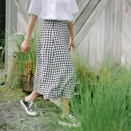 Wholesale Women s Skirts Japan Punk Kawaii Ulzzang Lattice Long Paragraph Swing Umbrella Skirt Female Korean Harajuku Button For Women
