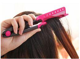 $enCountryForm.capitalKeyWord Australia - Professional Hair Combs V Type Hair Straightener Comb Diy Salon Haircut Hairdressing Styling Tool Barber Anti-Static Combs Brush