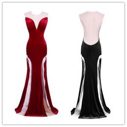 Toptan satış Seks Siyah Uzun Abiye Gelinlik Modelleri Backless Geri Jewel Sheer Boyun Örgün Abiye giyim Özel Durum Elbiseleri