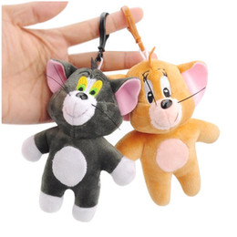 Discount key ring stuff toys 2pcs Cat Tom&Jerry Mouse Plush Toy Dolls Cute Stuffed Animals Kids Toys Small Pendant Keychains Collection Soft Toys Gift Key Chains Ring