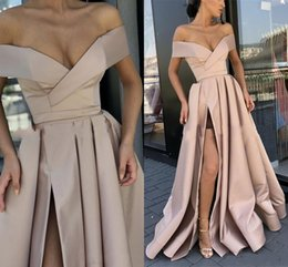 Red long off shouldeR dRess online shopping - 2020 Cheap New Sexy k19 Prom Dresses Off Sleeves Side Split Satin Long Sweep Train Party Dress Plus Size Formal Evening Gowns Wear