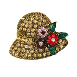 $enCountryForm.capitalKeyWord UK - New arrival hat shape rhinestone brooch pins vintage flower brooches fashion jewelry scarf buckle jewelry dress accessories 10pcs lot