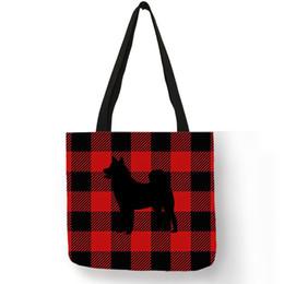 655d3ca82fa9 Creative Custom Shiba Dog Silhouette Print Tote Bag Women Grid Pattern Handbags  Casual Shopping Travel Shoulder Bags