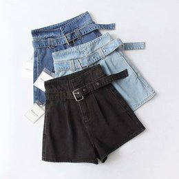 blue sashes belts Australia - 2019 Summer Women High Waist Jeans Shorts Streetwear Vintage Cotton Shorts Belted Blue Black Sexy Female Denim Shorts
