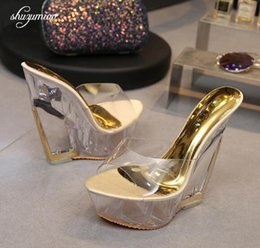 $enCountryForm.capitalKeyWord NZ - High Quality Women Shoes Slippers Summer Transparent Crystal Model Catwalk Wedding Shoes High-heeled 14cm Wedges