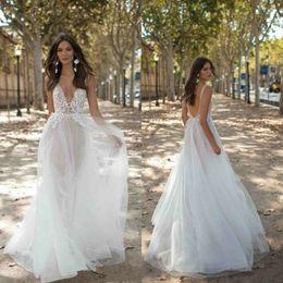 $enCountryForm.capitalKeyWord UK - Berta 2019 Wedding Dresses Bohemian Sexy Spaghetti V-Neck Backless Lace Bridal Gowns Boho Country A-Line Wedding Dress Vestidos De Novia