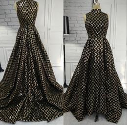 $enCountryForm.capitalKeyWord Australia - Gold Gorgeous Black Prom Dresses 2019 Sequined Sleeveless Evening Gowns With Detachable Train Sparkling Dress vestidos de noche A81