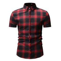 Red Plaid Mens Dress Shirt Australia - Black Plaid Dress Shirts Red Checkered Shirt Mens Fashions Chemise Homme Mens Short Sleeve Button-Down Blouse Men Clothes YS54
