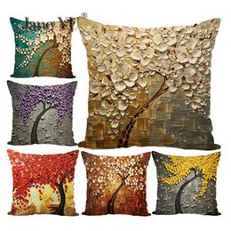 Painting Series Case Australia - JaneYU Oil Painting Tree Series Digital Printing Pillowcase Holder 45x45cm Decorative Pillowcases Pillow Case