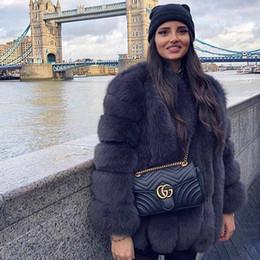 Wholesale gradient faux fur coat resale online – New Autumn Winter Fur Coat Women Clothes High Quality faux fox Fur overcoat Plus Size Thicken Warm Long Coats Female T200104