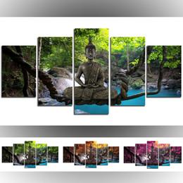 $enCountryForm.capitalKeyWord Australia - Unframed Seat Buddha Canvas Wall Art Print Modern Abstract Zen Art Painting Home Decoration(Color:Green,Orange,Purple,Size:4)