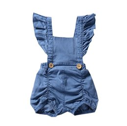 Denim infant clothing online shopping - Baby Girls Rompers Summer Fly Sleeve Newborn Onesies Clothing Denim Cute Toddler Romper Boutique Infant Bodysuit Clothes kids clothing