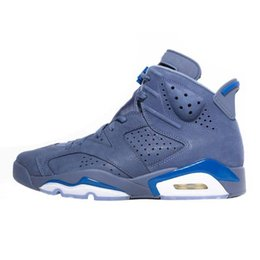 276777cbb6fe Cheap mens Jumpman 6s basketball shoes j6 Court Blue Suede Navy Black  infrared youth kids aj6 air flights retro sneakers boots with box