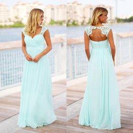Großhandel Günstige Vintage Mint Green Brautjungfernkleider Günstige Land Lange Bodenlangen Strand Backless Schwangere Trauzeugin Kleid Für Mutterschaft