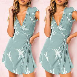 Teddies Dresses Australia - Bridesmaids Infinity Robe Longue Womens Sleeve Beach Ruffles Ladies V-Neck Print Mini Dress Dolls Women Teddy Lenceria Sexy