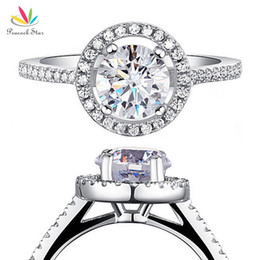 $enCountryForm.capitalKeyWord UK - Peacock Star Solid 925 Sterling Silver Wedding Promise Engagement Halo Ring Jewelry 1.25 Carat Cfr8003 Y19052201