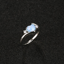 Simple Girls Ring Australia - Bule heart gemstone shape ring designs for girls Simple korean fashion silver love heart ring Solitaire sapphire stone jewelry wholesale