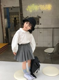 Wholesale blouse skirt style for sale - Group buy Preppy style Kids princess outfits girls doll lapel long sleeve blouse high waist pleated skirt sets spring children clothing J2279