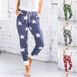 xl womens leggings NZ - Star Floral Summer Womens Pants Slim Pure Color Middle Waist Leggings Home Sport Liffting Hip Womens Designer Trousers