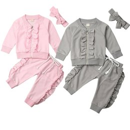 Discount year girls outfits - 1-4 Years Toddler Kids Baby Girls Outfits Gray Zipper Coat Tops Long Pants Girls Set Solid Pink Baby Girls Autumn Winter