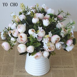 White Rose Arrangements Australia - YO CHO Rose Wedding Bouquet Bridal Bridesmaid Camellia Bouquet 10 Heads Artificial Silk Flowers Arrangement Home Party Prom Decorations