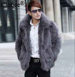 4622a354c64 6XL fur coat men Plus Size Faux Fur Coat Jackets 2019 Winter Parka  Windbreaker Stand Collar Silver Fox Overcoat S59