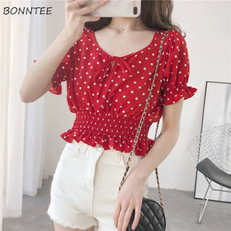 $enCountryForm.capitalKeyWord Australia - Shirts Short Leisure Bow Polka Dot V-neck Womens Elegant Sweet Korean Style Daily Simple All-match New Chic Chiffon Breathable
