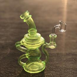 $enCountryForm.capitalKeyWord Australia - Klein Recycler dab rig heady glass oil rig glow green colorful glass water pipes mini water bongs bubbler with 14mm quartz banger