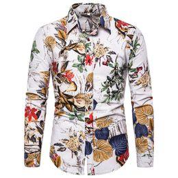 $enCountryForm.capitalKeyWord Australia - Flower Trees Print Male Shirt Handsome Man Festival Wear Costume Turn-down Collar Tops High Quality Linen Man Shirts Long Sleeve