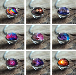 double circle glasses NZ - Hot 10pcs New Nebula Galaxy Double Sided Pendant Chain Necklace Universe Planet Jewelry Glass Art Picture Handmade Crystal Necklace