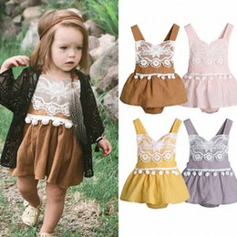 baby lace bodysuit UK - Newborn Infant Baby Girl Clothes Sleeveless Lace Bodysuit Linen Jumpsuit Playsuit Outfit Children Summer Clothing A tPLW#