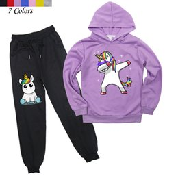 hoodies pants cartoon clothes Australia - Kids Boys Girls Cute Unicorn Hoodies Pants Suit Cartoon Children's Clothing Sweatshirts Casual Fashion Pullover Jogging Pant SH190912
