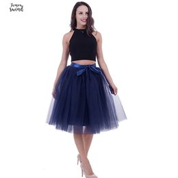 Satin layer Skirt online shopping - 5 Layers cm Midi Tulle Skirt Princess Pleated Dance Tutu Skirts Womens Lolita Petticoat Jupe Saia Faldas Denim Party Skirts