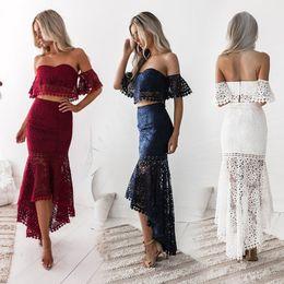 Faldas de lápiz de moda Vestido de dos piezas Vestidos de encaje sin espalda sexy para niña Conjuntos de dos piezas de las mujeres Vestido de fiesta de playa