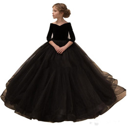 Chinese  2019 Alluring Black Pageant Dresses Off Shoulder Half Sleeves A line Tulle Kids Formal Dress for Winter Party Prom Wedding Gowns 62 manufacturers