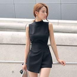 $enCountryForm.capitalKeyWord Australia - Elegant Belted Slim Playsuits Women Short Jumpsuit Stand Collar Sleeveless Irregular Lap Sexy Romper Overalls Brand New 2018 Y190506