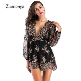5d83203a49e3 Ziamonga Deep V Sequin Playsuit Women Mesh Short Bodysuit Summer Beach Club  Elegant Jumpsuit Rompers Embroidery Leotard Overalls