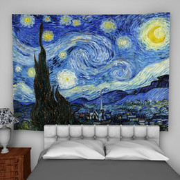 Psychedelic wall hangings online shopping - Van Gogh Tranquility Wall Hanging Tapestry Psychedelic Bedroom Home Decoration