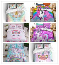 Girls Pink Bedding Sets Australia - Pink Unicorn 3D Bed Set Cute Cartoon Duvet Cover Pillowcase Kids Girls Bedroom Bed Cover Home textile