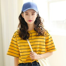 Short Sleeve Loose Tops Australia - Vintage Ulzzang Girl Friends Stripe Printed t-Shirts Summer Women Casual Loose Short Sleeve Tee Tops Woman