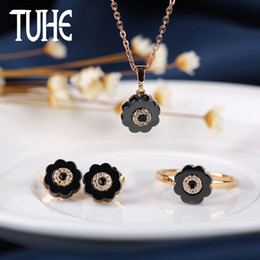 abb0ab2c9 New Style Flower Shape Ceramic Girl Jewelry Set Black White Necklace  Elegant Earrings Fashion Ring For Love Gifts Xmas Gifts