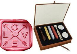 Wood Stamp Kit Australia - Vintage Love Arrow Wax Seal Sealing Stamp Sticks Spoon Gift Box Set Kit