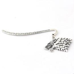 House Plates Australia - HBO Bookmarks House Stark Wolf Head Logo Metal Alloy Books Marker Pendant Jewelry Gift Fans