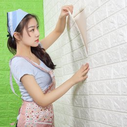 chinese 3d wall stickers Australia - 3D Brick Wall Stickers PE Foam Self-adhesive Wallpaper Peel and Stick for Living Room Bedroom Background Wall Decoration