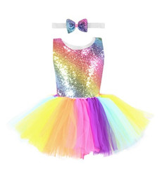 China Rainbow Sequined Girl Tutu Dress With Bow Headband Sleeveless Backless Birthday Wedding Party Dresses Sundress Vest Dress suppliers