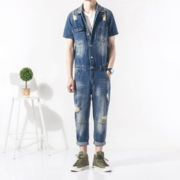 men hip hop new fashion trends NZ - New Fashion Hip Hop Men's Retro Denim Jumpsuit Streetwear Trend Men's Slim Hole Jumpsuit Men Jeans Overalls